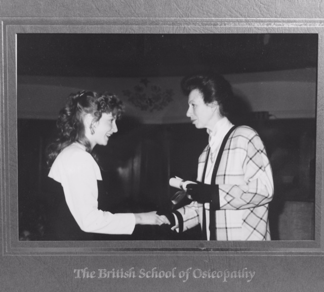25th Anniversary, Presentation of Diploma of Osteopathy by HRH Princess Royal in 1990 to Julia KInsey